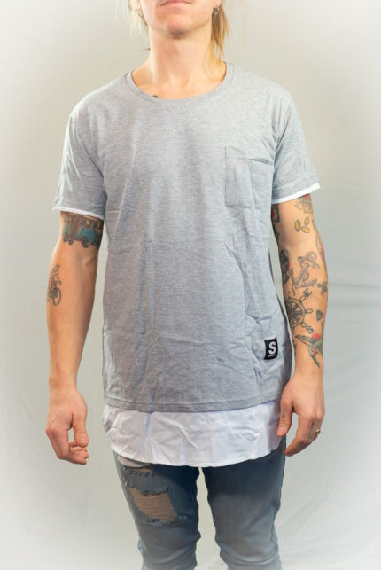 SomeWear AW16, Double Layer Tee Grey Melange-0